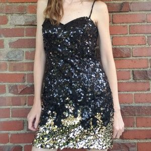 Dave and Johnny Short Black and Gold Sequin Dress